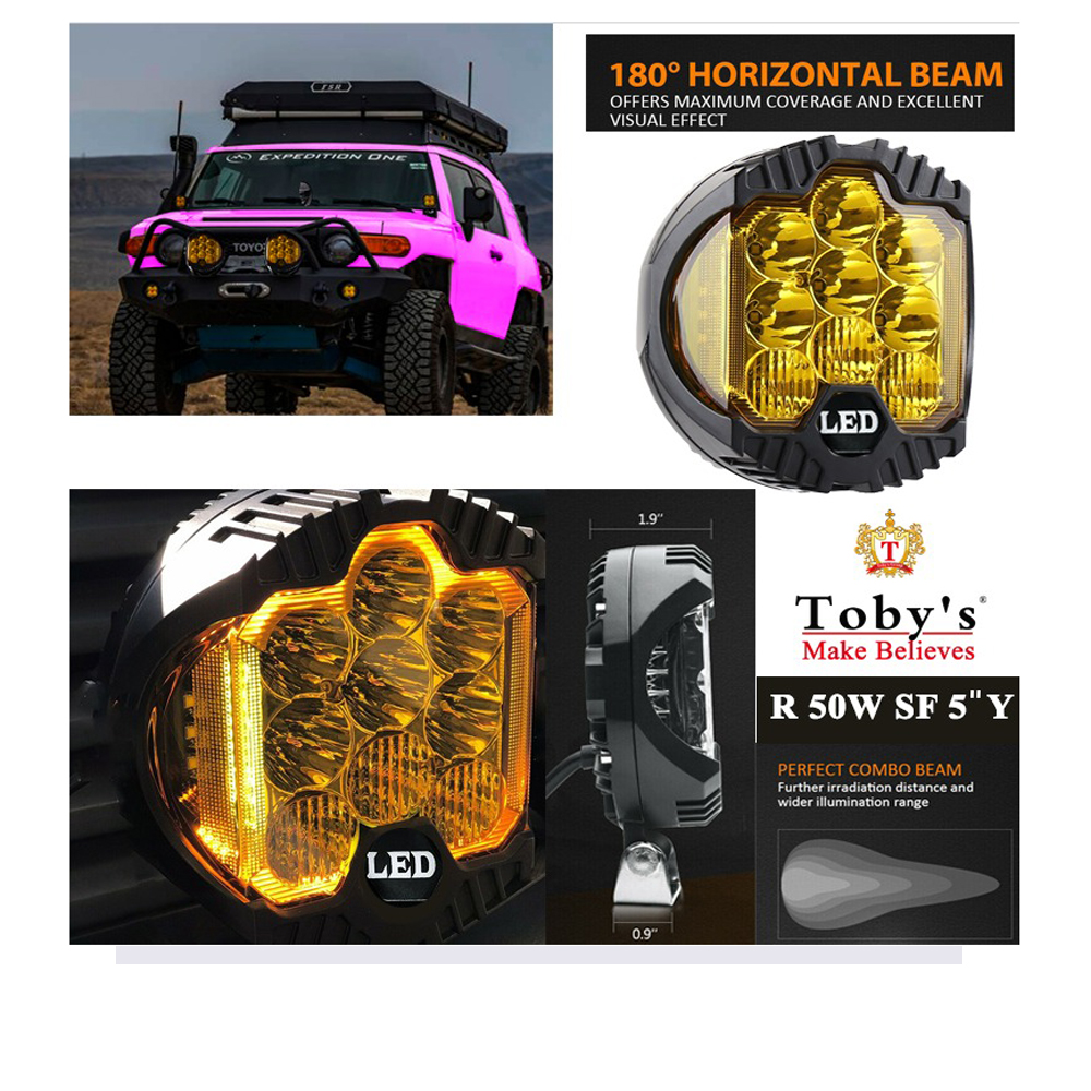 60W YELLOW LED Headlight Jeep Wrangler 7 inch LED headlights, R-60W SF-7 YELLOW