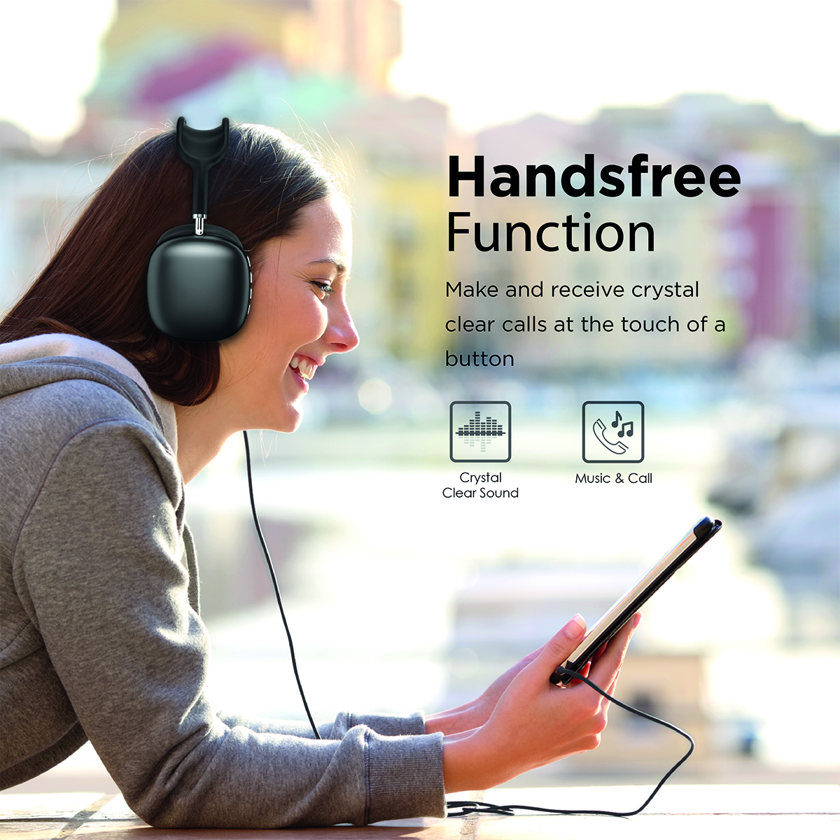 Promate Wireless Bluetooth Headphones, Ergonomic Over-Ear Adjustable Bluetooth 5.0 Headset with Mic, FM Radio, TF Card Slot and Wired Mode 3.5mm Jack for iPhone 12, Gym, Travel, Office, AirBeat Black