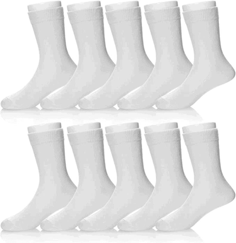 Boys & Girls White School Socks Cotton - Set of 10 Pairs