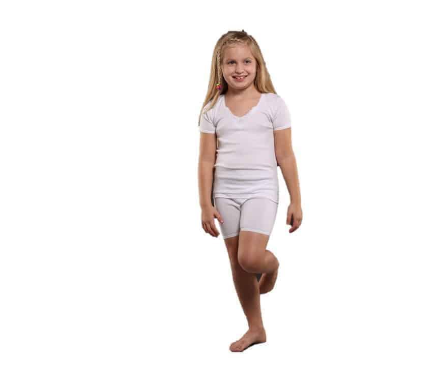 Girls Cotton White T-shirt and Boxer Undershirt