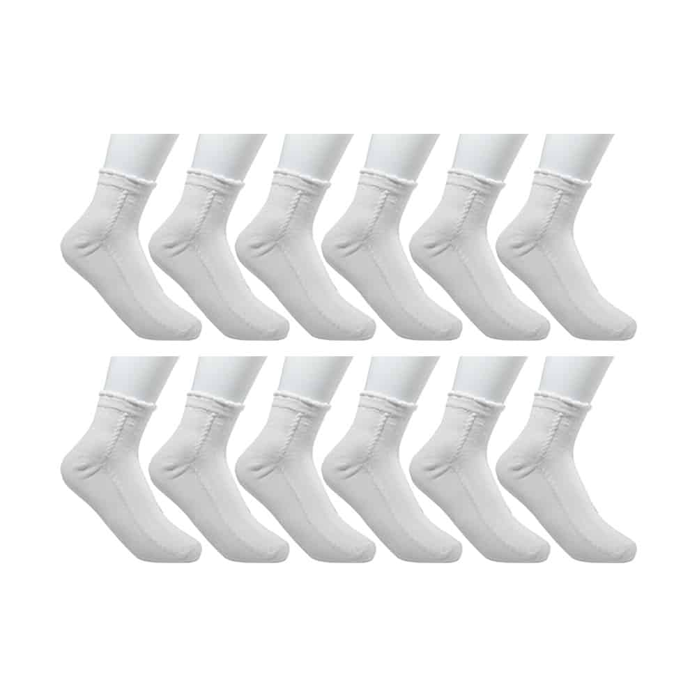Fabrik Baby Girls White Cotton Uniform Ankle Socks (Pack of 12 Pairs)