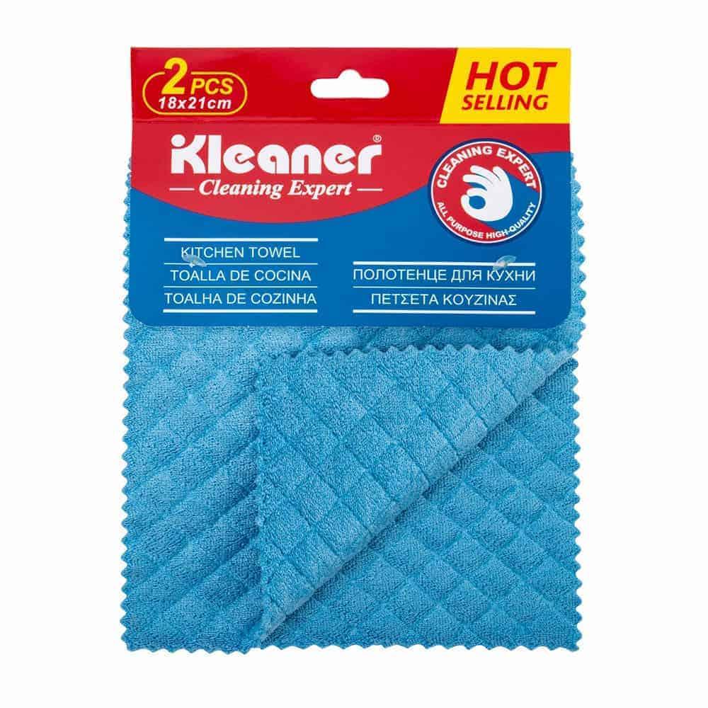 Microfiber Kitchen Towels - Super Absorbent, Soft and Solid Color Dish Towels, 2 Pcs Blue Color, 18 x 21 Cm