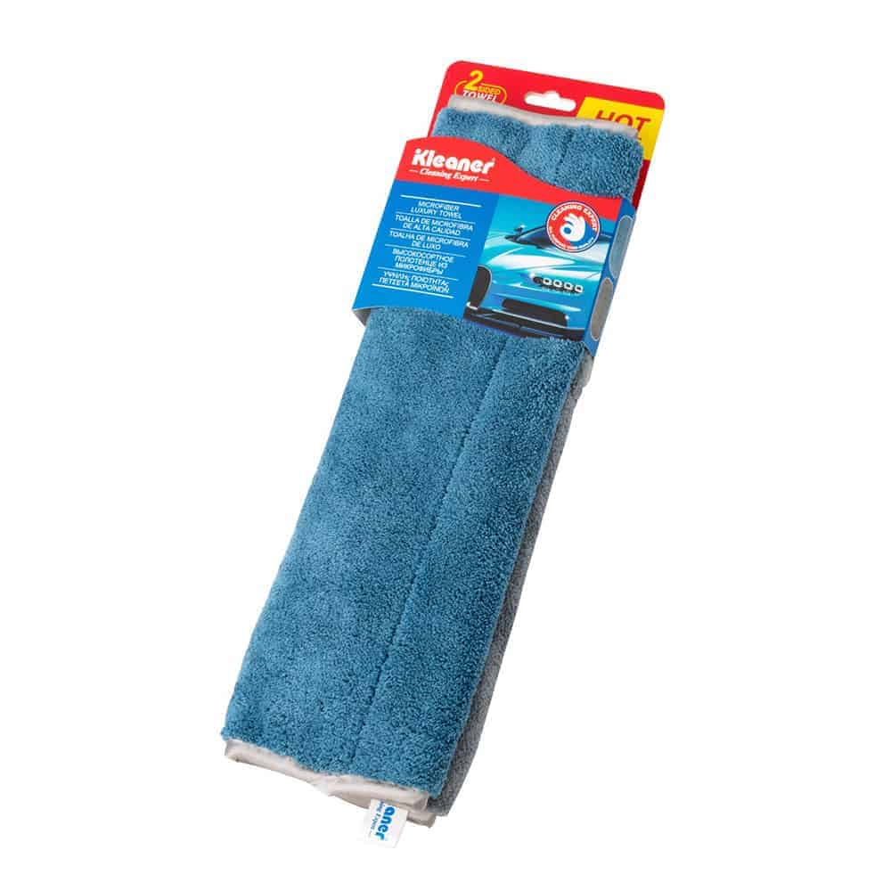 Kleaner Microfiber Luxury Towel, 2 Sided Towel, Blue