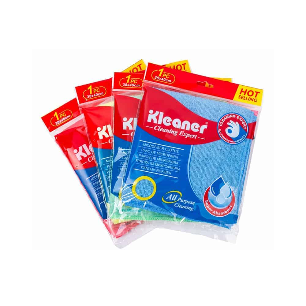 Kleaner Blue, Red, Green, Yellow, and Purple Microfiber Cleaning Cloth - Pack of 1 - 38 x 40 Cm