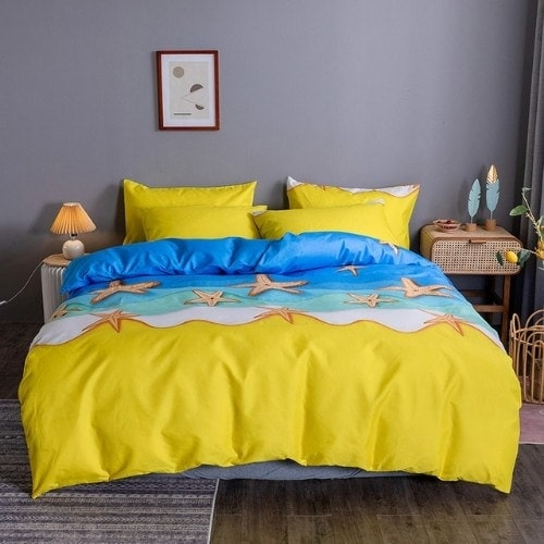 DEALS FOR LESS - King Size, Duvet Cover, Bed Sheet Set of 6 Pieces,Starfish design, 1 Duvet cover + 1 Fitted bedsheet + 4 pillow covers.