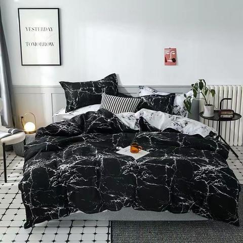 DEALS FOR LESS - Queen/Double Size, Duvet Cover, Bed Sheet Set of 6 Pieces, Marble Design, 1 Duvet cover + 1 bedsheet + 4 pillow covers.