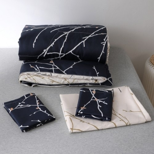 DEALS FOR LESS - Comforter Set of 4 Pieces, Twig Design, 1 Comforter + 1 Bedsheet + 2 Pillow Covers