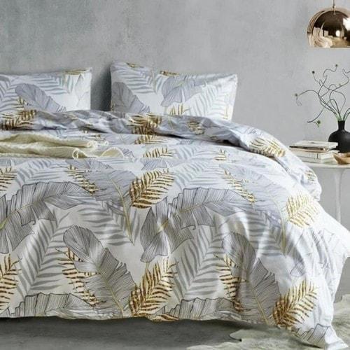 DEALS FOR LESS - Queen/Double Size, Duvet Cover, Bed Sheet Set of 6 Pieces, Leaves Design, 1 Duvet cover + 1 bedsheet + 4 pillow covers.