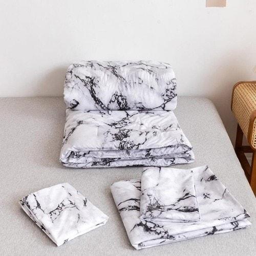 DEALS FOR LESS - Comforter Set of 4 Pieces, Marble Design, 1 Comforter + 1 bedsheet + 2 pillow covers.