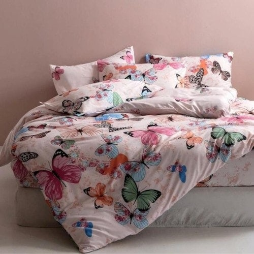 DEALS FOR LESS - Queen/Double Size, Duvet Cover, Bed Sheet Set of 6 Pieces, Pink Butterfly Design, 1 Duvet cover + 1 bedsheet + 4 pillow covers.