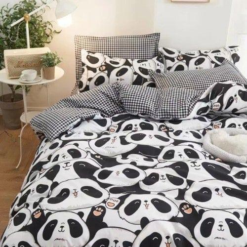 DEALS FOR LESS - Queen/Double Size, Duvet Cover, Bed Sheet Set of 6 Pieces, Cute Panda Design, 1 Duvet cover + 1 bedsheet + 4 pillow covers.