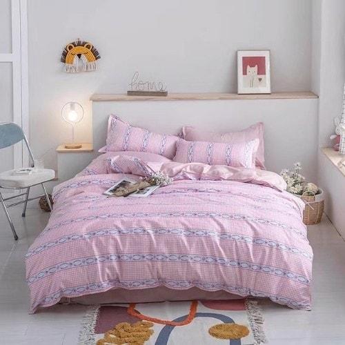 DEALS FOR LESS - Queen/Double Size, Duvet Cover, Bed Sheet Set of 6 Pieces, Pink Stripes Design, 1 Duvet cover + 1 bedsheet + 4 pillow covers.