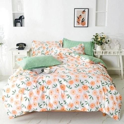DEALS FOR LESS - Queen/Double Size, Duvet Cover, Bed Sheet Set of 6 Pieces, Orange Floral Design, 1 Duvet cover + 1 bedsheet + 4 pillow covers.