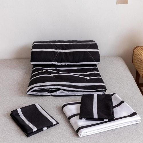 DEALS FOR LESS - Comforter Set of 4 Pieces, Black & White Stipes Design, 1 Comforter + 1 bedsheet + 2 pillow covers.