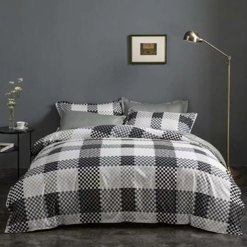 DEALS FOR LESS - Queen/Double Size, Duvet Cover, Bed Sheet Set of 6 Pieces,Black & White Checkered Design, 1 Duvet cover + 1 bedsheet + 4 pillow covers.