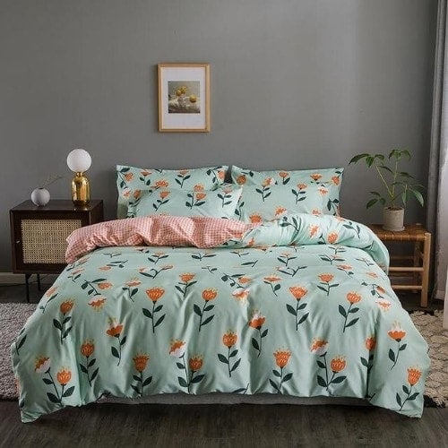 DEALS FOR LESS - King Size, Duvet Cover, Bed Sheet Set of 6 Pieces,Floral design, 1 Duvet cover + 1 Fitted bedsheet + 4 pillow covers.