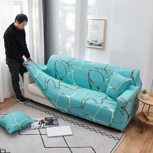 DEALS FOR LESS - Sofa Cover, Stretchable Couch Slipcover, Arm chair cover, furniture protector from Pets, Dogs, Cats, Kids mess for living room, Bedroom, Printed Blue Marble Design