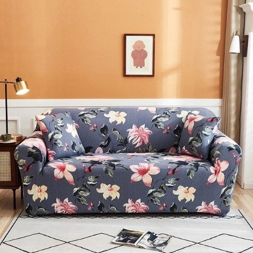 DEALS FOR LESS - Sofa Cover, Stretchable Couch Slipcover, Arm chair cover, furniture protector from Pets, Dogs, Cats, Kids mess for living room, Bedroom, Floral Printed Design.