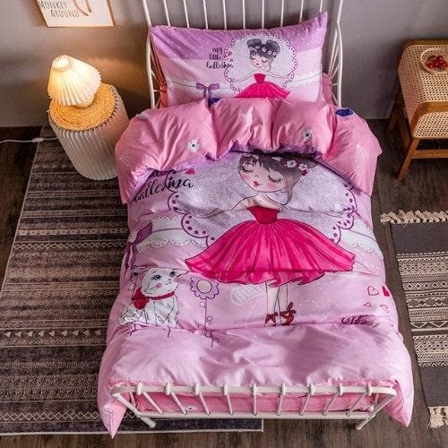 DEALS FOR LESS - Single Size, Duvet Cover, Bed Sheet Set of 4 Pieces, Little Ballerina 3D Design, 1 Duvet cover + 1 Fitted bedsheet + 2 pillow covers