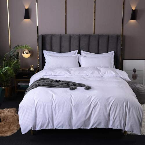 DEALS FOR LESS - King Size, Duvet Cover, Bed Sheet Set of 6 Pieces, Plain White , 1 Duvet cover + 1 Fitted bedsheet + 4 pillow covers.