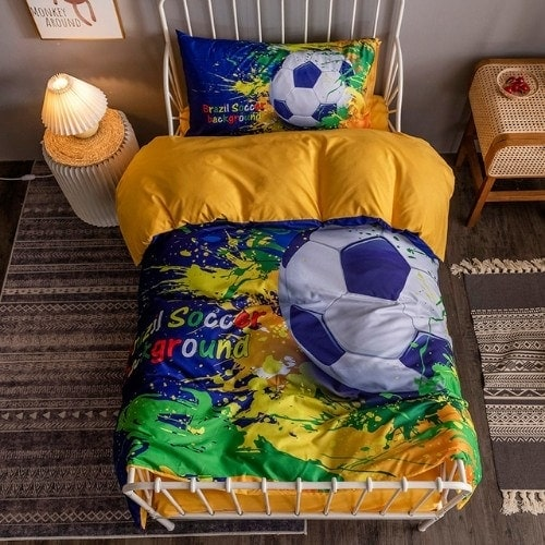 DEALS FOR LESS - Single Size, Duvet Cover, Bed Sheet Set of 4 Pieces, Soccer Ball 3D Design, 1 Duvet cover + 1 Fitted bedsheet + 2 pillow covers