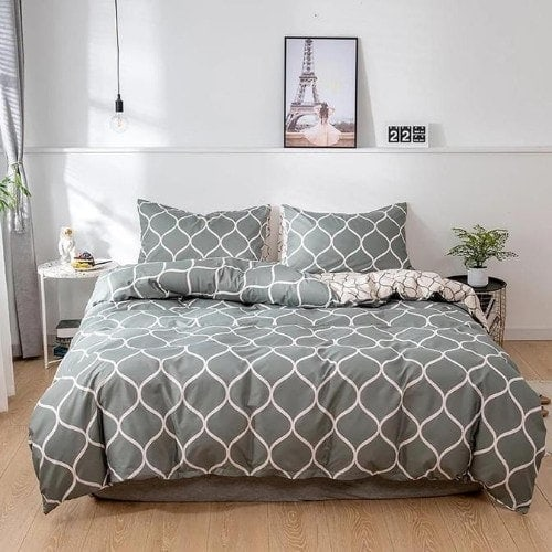 DEALS FOR LESS - King Size, Duvet Cover, Bed Sheet Set of 6 Pieces,Geometric design, 1 Duvet cover + 1 Fitted bedsheet + 4 pillow covers.