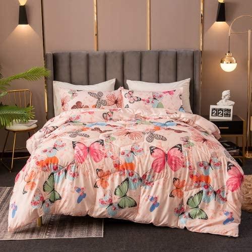 DEALS FOR LESS - Comforter Set of 4 Pieces, Butterfly Design, 1 Comforter + 1 Bedsheet + 2 Pillow Covers