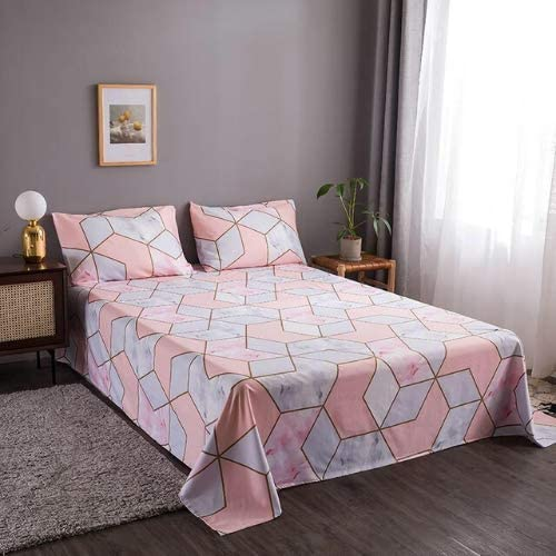 DEALS FOR LESS - Bedsheet Set Of 3 Pieces, Pink Geometric Design