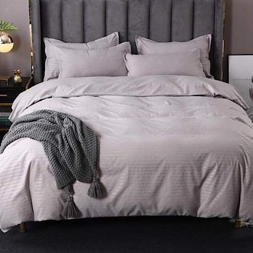 DEALS FOR LESS - King Size, Duvet Cover, Bed Sheet Set of 6 Pieces, Plain Grey , 1 Duvet cover + 1 Fitted bedsheet + 4 pillow covers.