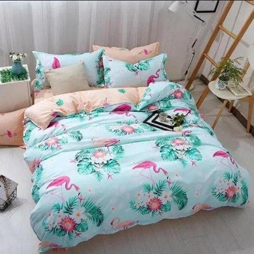 DEALS FOR LESS - Queen/Double Size, Duvet Cover, Bed Sheet Set of 6 Pieces, Flamingo Design, 1 Duvet cover + 1 bedsheet + 4 pillow covers.