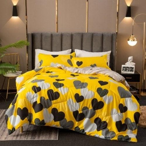 DEALS FOR LESS - Comforter Set of 4 Pieces, Yellow Heart Design, 1 Comforter + 1 Bedsheet + 2 Pillow Covers