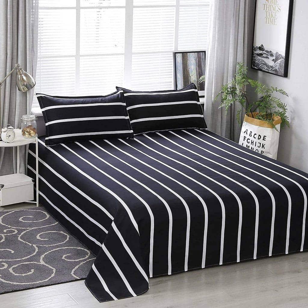 dealsforless-bedsheet-black-white-stripes