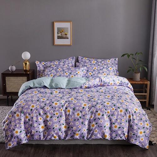 DEALS FOR LESS - Queen/Double Size, Duvet Cover, Bed Sheet Set of 6 Pieces, daisies Design, 1 Duvet cover + 1 bedsheet + 4 pillow covers.