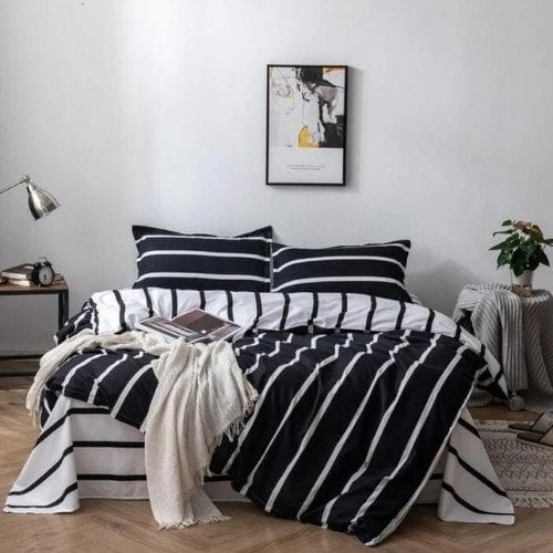 DEALS FOR LESS - Queen/Double Size, Duvet Cover, Bed Sheet Set of 6 Pieces, Black&white stripes Design, 1 Duvet cover + 1 bedsheet + 4 pillow covers.