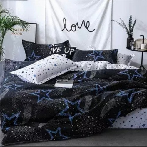 DEALS FOR LESS - King Size, Duvet Cover, Bed Sheet Set of 6 Pieces, Blue Stars design, 1 Duvet cover + 1 Fitted bedsheet + 4 pillow covers.
