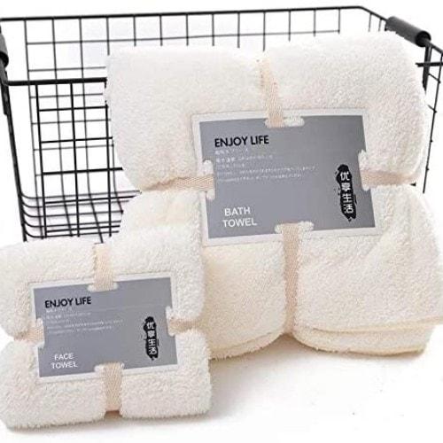 DEALS FOR LESS - Soft Bath Towel, Rice White Color, Set Of 2 Pieces