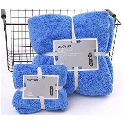 DEALS FOR LESS - Microfiber Bath Towel Set Of 2 Pieces, Blue Color