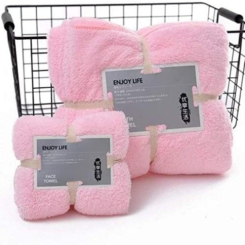DEALS FOR LESS - Quick drying supper absorption bath towel set of 2 pieces, Light Pink color.