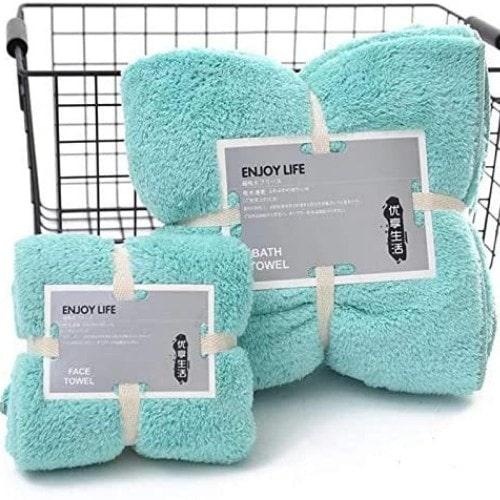 DEALS FOR LESS - Soft bath towel, aqua color, set of 2 pieces.