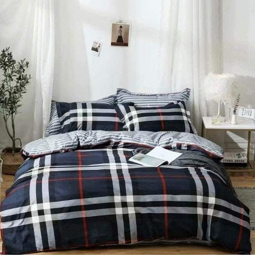 DEALS FOR LESS - Queen/Double Size, Duvet Cover, Bed Sheet Set of 6 Pieces, check Design, 1 Duvet cover + 1 bedsheet + 4 pillow covers.
