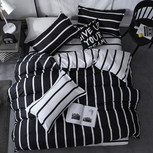 DEALS FOR LESS - Single Size, Duvet Cover, Bed Sheet Set of 4 Pieces, Stripes Design , 1 Duvet cover + 1 Fitted bedsheet + 2 pillow covers