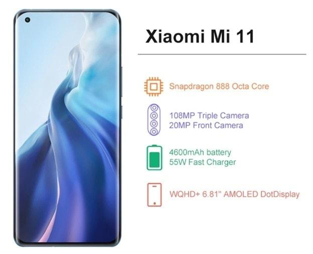Xiaomi Mi 11 Midnight Grey 6.81 Inch 5G Smartphone Snapdragon 888 108MP Camera 4600mAh MIUI 12