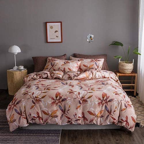 DEALS FOR LESS - King Size, Duvet Cover, Bed Sheet Set of 6 Pieces, Leaves Design