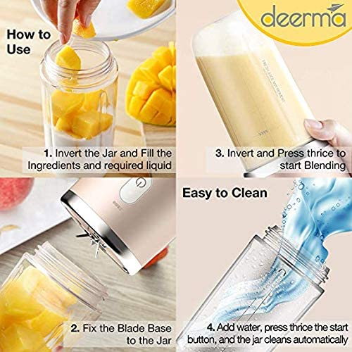 Deerma NU05 USB Rechargeable Electric Juicer Cup (400ml) Portable Fruit Juicer Mini Fruit Ice Mixer Bottle Cup