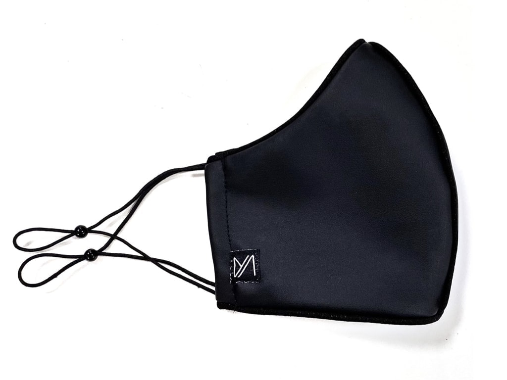 Just Masks JMFL-101 Black Leather With Black Crape Piping