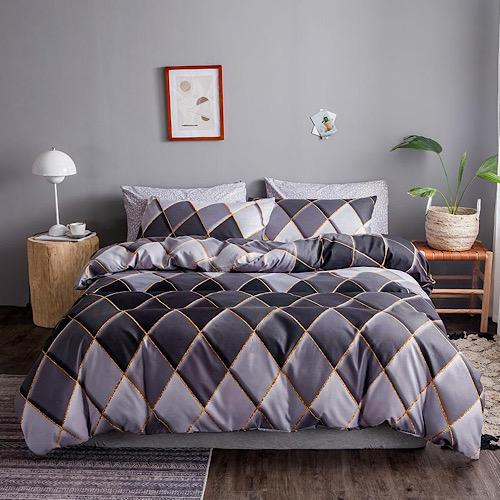DEALS FOR LESS - King Size, Duvet Cover, Bed Sheet Set of 6 Pieces, Geometric Design