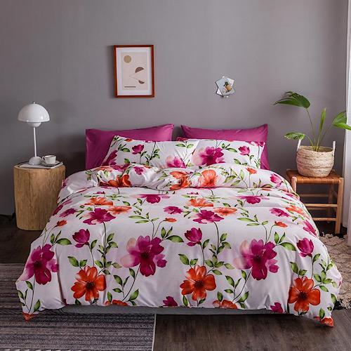 DEALS FOR LESS - King Size, Duvet Cover, Bed Sheet Set of 6 Pieces, Pink Flower Design