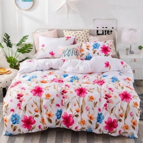 DEALS FOR LESS - King Size, Duvet Cover, Bed Sheet Set of 6 Pieces, Floral Design