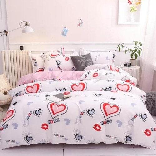 DEALS FOR LESS - Single Size, Duvet Cover, Bedding Set of 4 Pieces, heart Design
