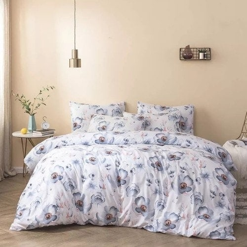 DEALS FOR LESS - King Size, Duvet Cover, Bed Sheet Set of 6 Pieces, Purple Floral Design